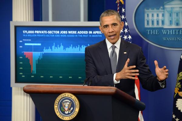 Obama touts activity introduction notwithstanding weak monetary file