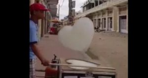Machine in Cambodia manufactures heart-shaped 'clouds'