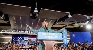 The Latest: Trump calls Clinton 'close to unhinged'